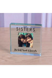 Personalised Sisters Glass Token Photo Engraved Glass Block Paperweight Gift Glass Block Sister Gift Sisters Bestfriends Family